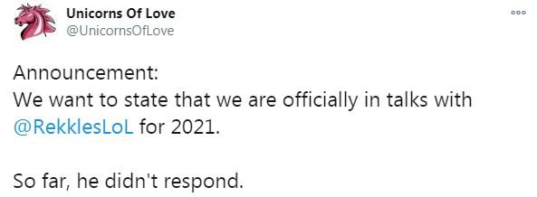 英豪聯盟FNC戰隊官宣Rekkles離隊 具體去向不知道